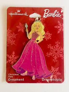 Hallmark Dreamtopia Barbie Flat Metal Christmas Tree Ornament on card 2018