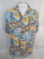 ISLAND SHORES Men Hawaiian ALOHA shirt pit to pit 24 L floral camp luau tropical