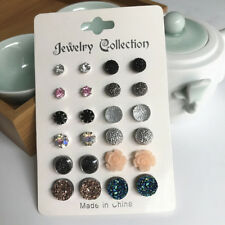 Fashion Flower Crystal Disco Clay Ball Ear Stud Earrings Simple Ear Jewelry D