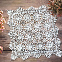 """Hand Crochet Lace Doily White Vintage Cotton Table Placemat 19"""" Wedding Party"""