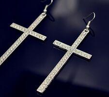 Ohrringe XL Ohrstecker Ohrhänger Kreuz Strass Gold Silber  pl  7,5cm lang Neu