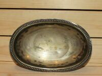 Antique silver plated boat bowl