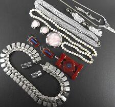 Lot 17 vintage some signed bracelet necklace earrings 5 demi parure modernist