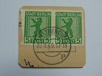 Briefstück mit Paar (.) BBRA 1945 5 Pf Berliner Bär m. Plattenfehler Mi 1 A VI