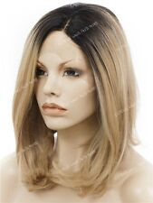 Dark Roots/Mixed Blonde Medium Length Bob Synthetic Soft Swiss Lace Front Wig
