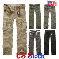 Men's Cargo Pants Combat Camouflage Camo Army Style Trousers Military Fitness US