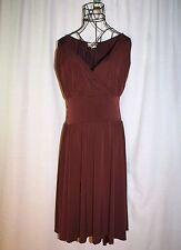 Vintage Luly K New York City Chocolate Brown Stretchy Sleeveless Dress Size M