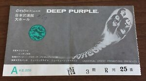 FREE ship! Deep Purple JAPAN original 1972 concert ticket stub (NOT tour book)