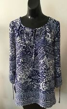 Gorgeous NWOT Kenneth Cole royal blue & white print top M