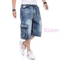 Mens Cargo Pocket Denim Jeans Shorts Pants Summer Loose Fit Hip Hop Big SZ 30-46