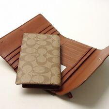 NWT Coach Signature Coated Canvas Checkbook Wallet 52681 Light Gold/Khaki/Saddle