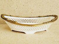 Germany PIERCED Porcelain Oval Bowl Brass Encased Rim 2'' T ~ 7.5''L~4.25'' W