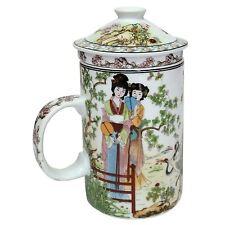 PORCELLANA CINESE Tè Tazza con infusore e coperchio-Donna + GRU Pattern