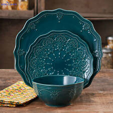 THE PIONEER WOMAN®New Dinnerware Service Set Green Stoneware dishes Plates Bowl