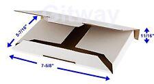 "50- 7 5/8 x 5 7/16 x 11/16"" White DVD Cardboard Carton Mailer Shipping Box Boxes"