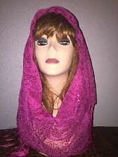 Hot Pink Long Scarf Hijab Wrap Sheer pretty and fashionable W/tassels Last1's