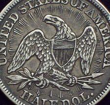 1853 Seated Liberty HALF Dollar RAYS & ARROWS SILVER  Nice AU Coin Authentic .50