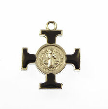 3cm black St. Benedict cross medal black enamel double sided Catholic