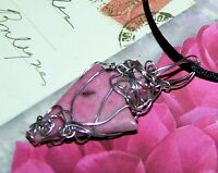 STUNNING HAND-CRAFTED SILVER-WIRE-WRAPPED DENDRITIC RHODONITE PENDANT  2-1/4