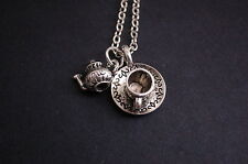 silver tone 3D teapot and tea cup necklace kitsch emo