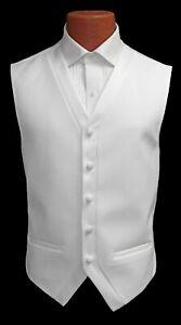 Small White Fullback Tuxedo Vest Prom Suit Wedding Formal Waistcoat Full Back