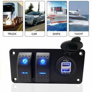 2Gang Dual USB Port Rocker Switch Panel Blue LED Fits For 12-24V Car Marine Boat