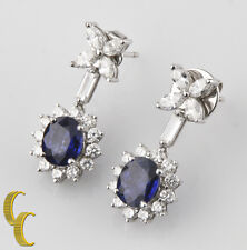 18k White Gold Blue Sapphire & Diamond Drop Flower Earrings