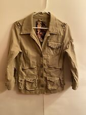 Guess Women's Military Style Love Peace Graphic Button Closure Jacket Size Large