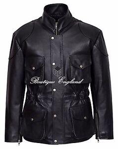 Classic Police Men's Leather Jacket Black Designer HIDE REAL LEATHER 8343