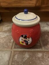 New listing Walt Disney Mickey & Minnie Mouse Treat/Candy/Cookie Jar Red White&Blue Canister