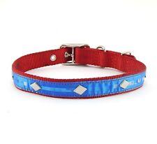 "HAMILTON ST Nylon Dog Collar with Diamond Studs and 3D Overlay, 24"" x 1"", Red"
