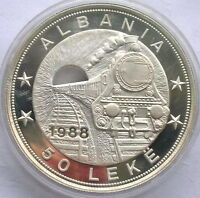 Albania 1988 Railway Train 50 Leke 5oz Silver Coin,Proof