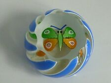 Perthshire Paperweight 1976B  Miniature Blue White Overlay Butterfly COA Box EC