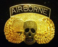 US Army Military Tie Hat Lapel Pin 82 101 Airborne Skull Gold Wings NEW #R37F