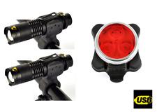 Due PEZZI Anteriore & Posteriore Ricaricabile 3 LED Luci Kit Set Road Mountain Bike UK