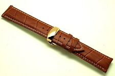 22mm Brown/White Alligator Grain Leather Watch Band Rose Gold Deployment Clasp