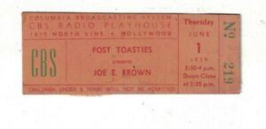 1939 Ticket Post Toasties Present Joe E, Brown CBS Radio Playhouse Hollywood CA