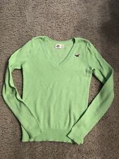 Hollister Sweater Vneck Lime Green Small Acrylic