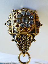 VTG Art Deco Floral clasp pin brooch dress scarf clip pendant watch charm holder