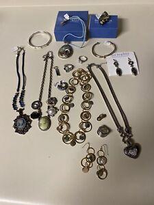 """16 Lia Sophia Lot  """"Love Dust"""" Heart Necklace Crystal Abalone MOP Rings Earrings"""