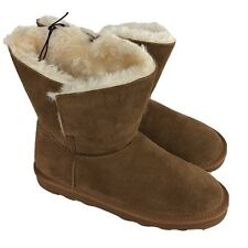 Time & Tru Faux Fur Lined Boots Tan Size 8 Real Leather New NWT