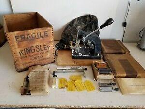 Vintage Kingsley Letter Type Set Hot Gold Foil Stamping Machine With Extras