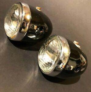 "1940 ANTIQUE VINTAGE SET OF 2TWO BICYCLE MOTORBIKE LIGHT HEAD LAMP BIG SIZE 3.5"""