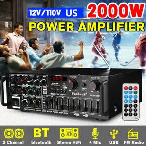 2000W HiFi bluetooth 5.0 Power Amplifier 2 Channel Car Home Stereo Audio FM Amp