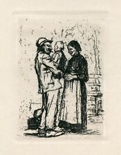 """Kathe Kollwitz original etching """"Begrüssung"""""""