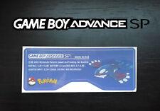 Etiquette Arrière / Back Sticker Pokémon Saphir Kyogre Game Boy Advance GBA SP