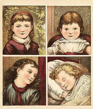 CHARMING VICTORIAN GIRLS CHILDREN ANTIQUE LITHOGRAPH PRINT 1886