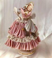 DRESDEN LACE Volkstedt Lady Dancer Large Porcelain Figurine Germany c1905