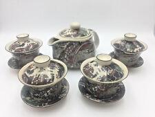 Japanese Tea Set Teapot 4 Cups Saucers Lids Elaborate Transferware Harbor Scene