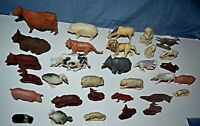 "Vintage Mixed Lot 32 Plastic Animal Toy Figures Sizes 1.5""- 3"" Birds Farm Wildli"